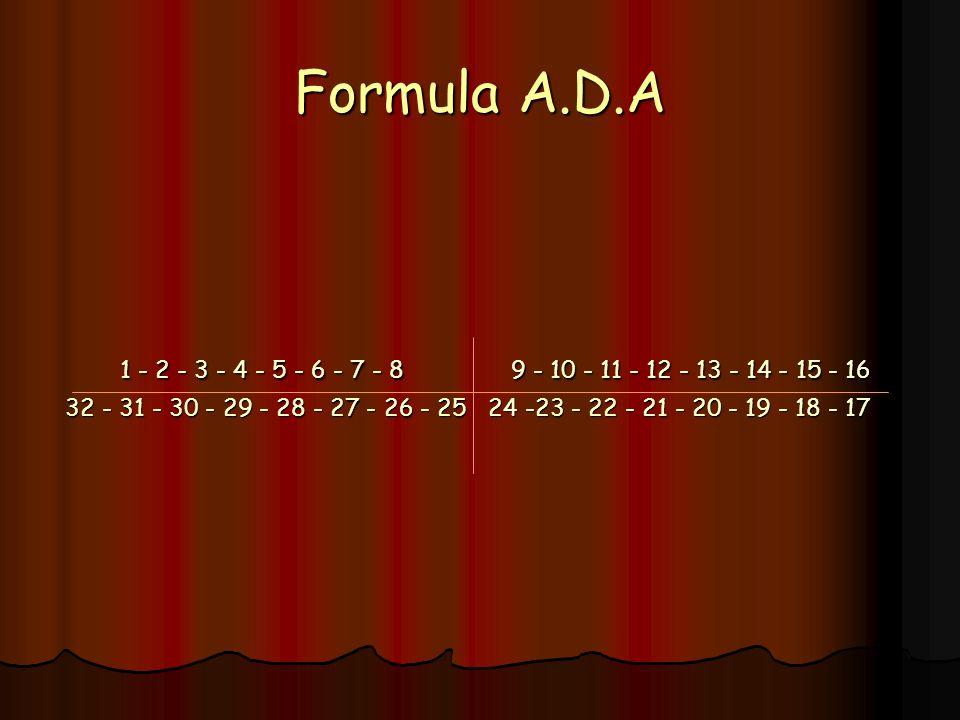 Formula A.D.A 1 - 2 - 3 - 4 - 5 - 6 - 7 - 8 9 - 10 - 11 - 12 - 13 - 14 - 15 - 16.