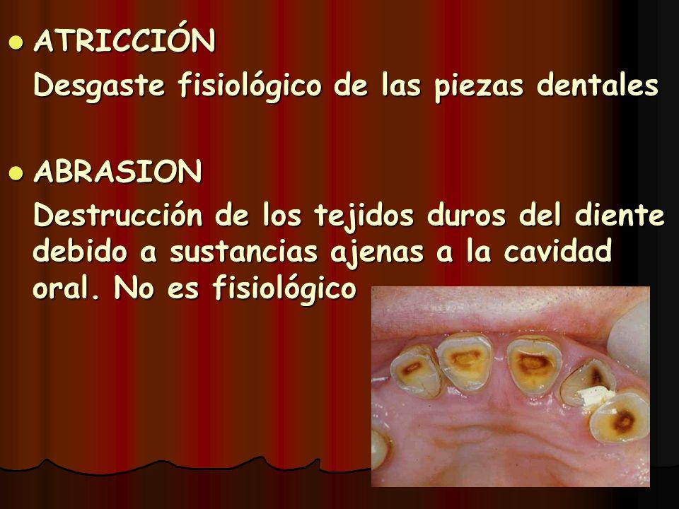 ATRICCIÓN Desgaste fisiológico de las piezas dentales. ABRASION.