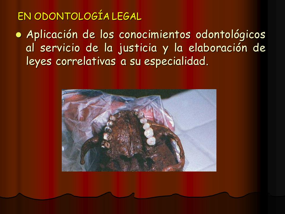 EN ODONTOLOGÍA LEGAL