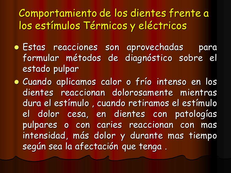Comportamiento de los dientes frente a los estímulos Térmicos y eléctricos