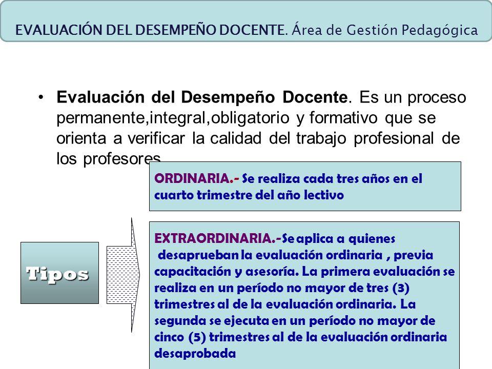 EVALUACIÓN DEL DESEMPEÑO DOCENTE. Área de Gestión Pedagógica