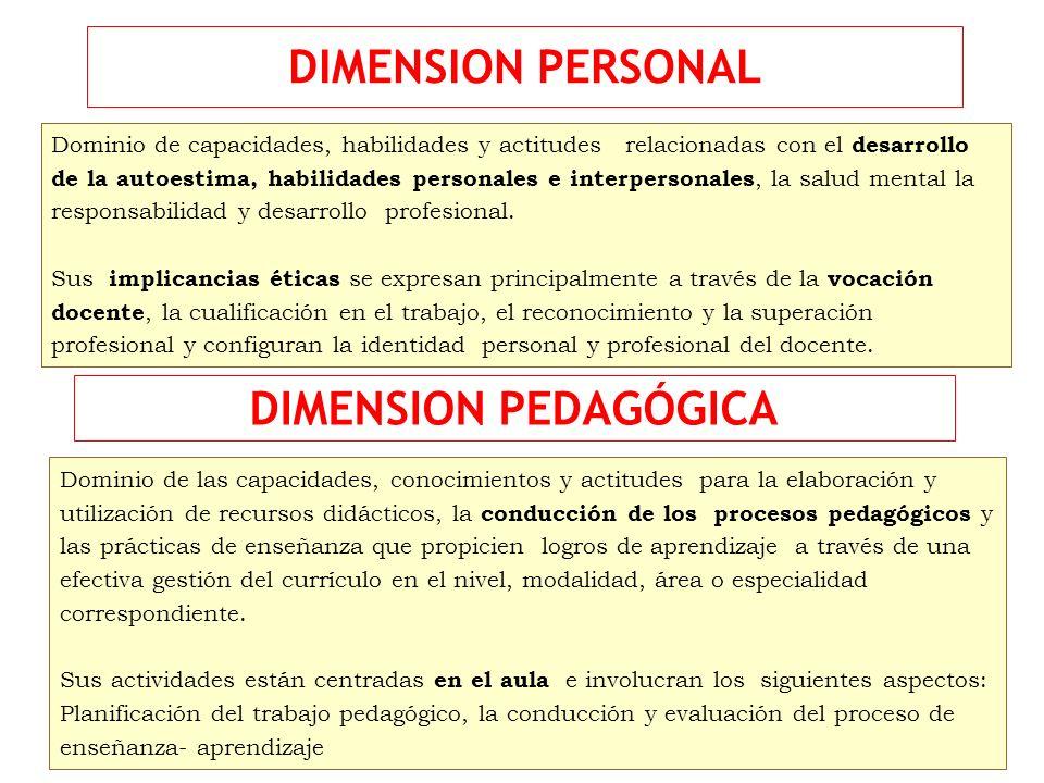 DIMENSION PERSONAL DIMENSION PEDAGÓGICA