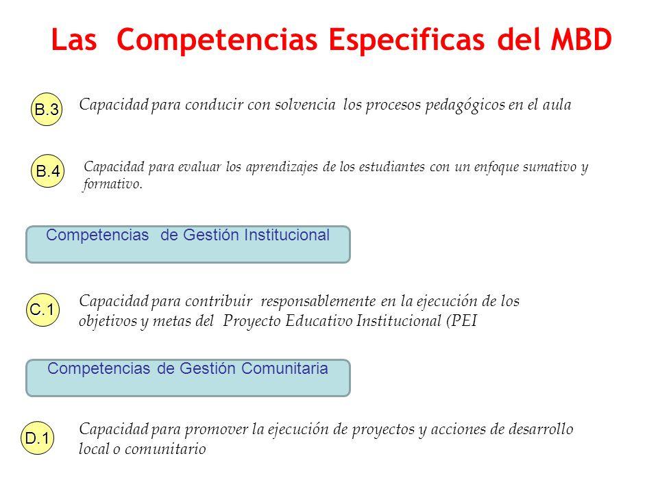 Las Competencias Especificas del MBD