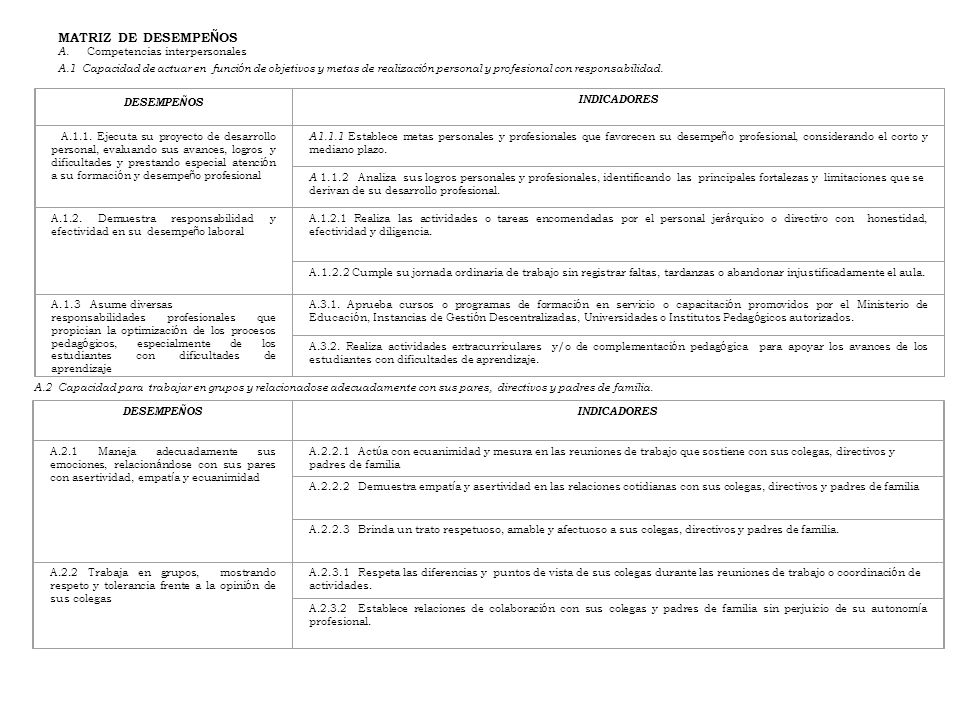 MATRIZ DE DESEMPEÑOS A. Competencias interpersonales