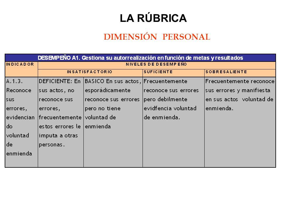 LA RÚBRICA DIMENSIÓN PERSONAL