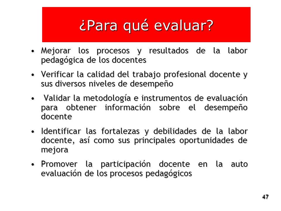¿Para qué evaluar Mejorar los procesos y resultados de la labor pedagógica de los docentes.