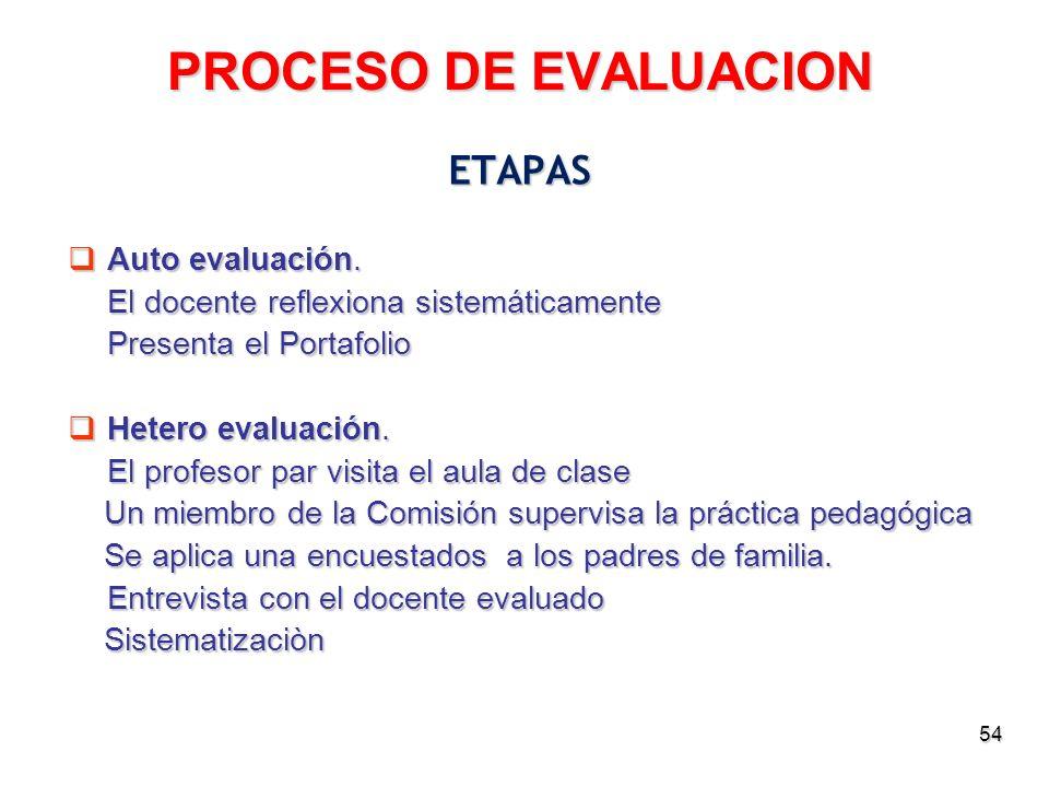 PROCESO DE EVALUACION ETAPAS Auto evaluación.