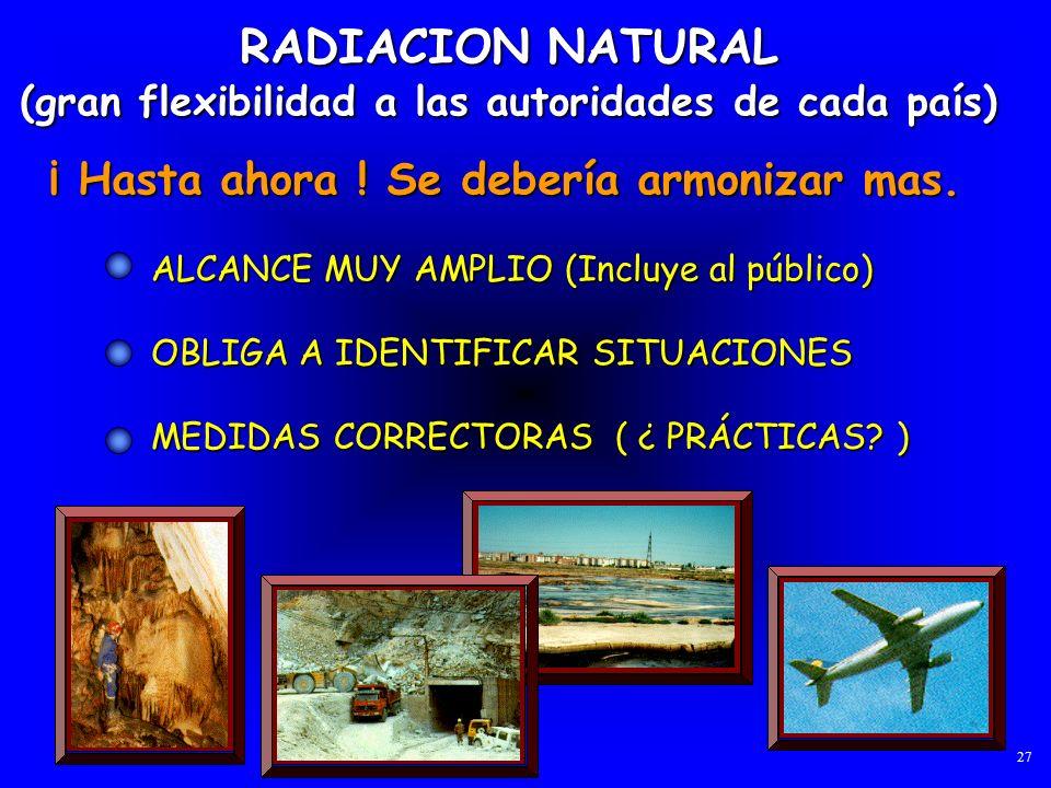 RADIACION NATURAL ¡ Hasta ahora ! Se debería armonizar mas.