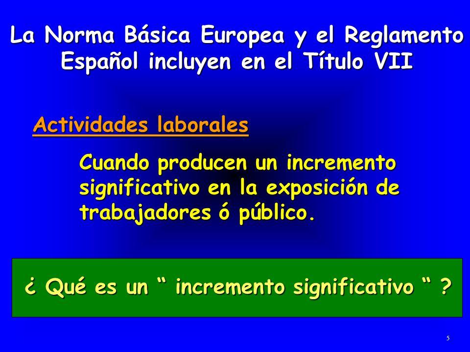 La Norma Básica Europea y el Reglamento Español incluyen en el Título VII