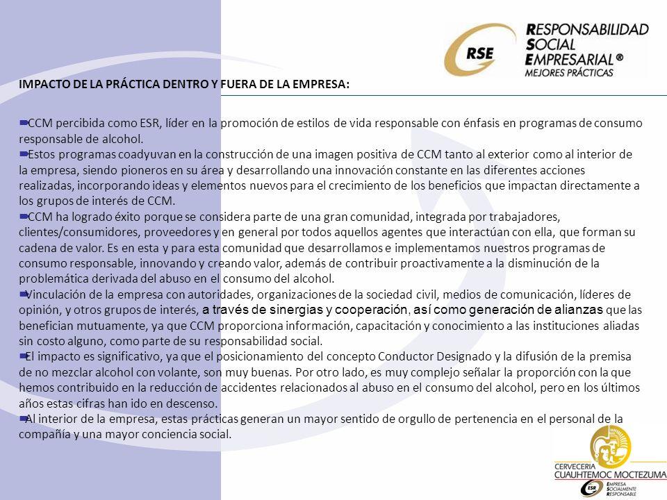 IMPACTO DE LA PRÁCTICA DENTRO Y FUERA DE LA EMPRESA: