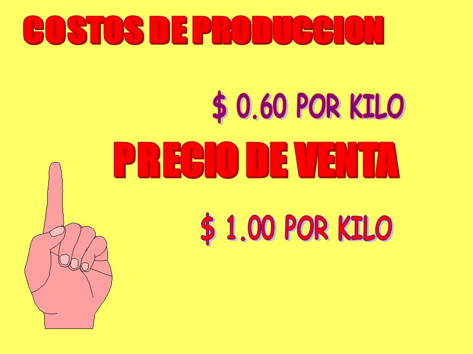 COSTOS DE PRODUCCION $ 0.60 POR KILO PRECIO DE VENTA $ 1.00 POR KILO