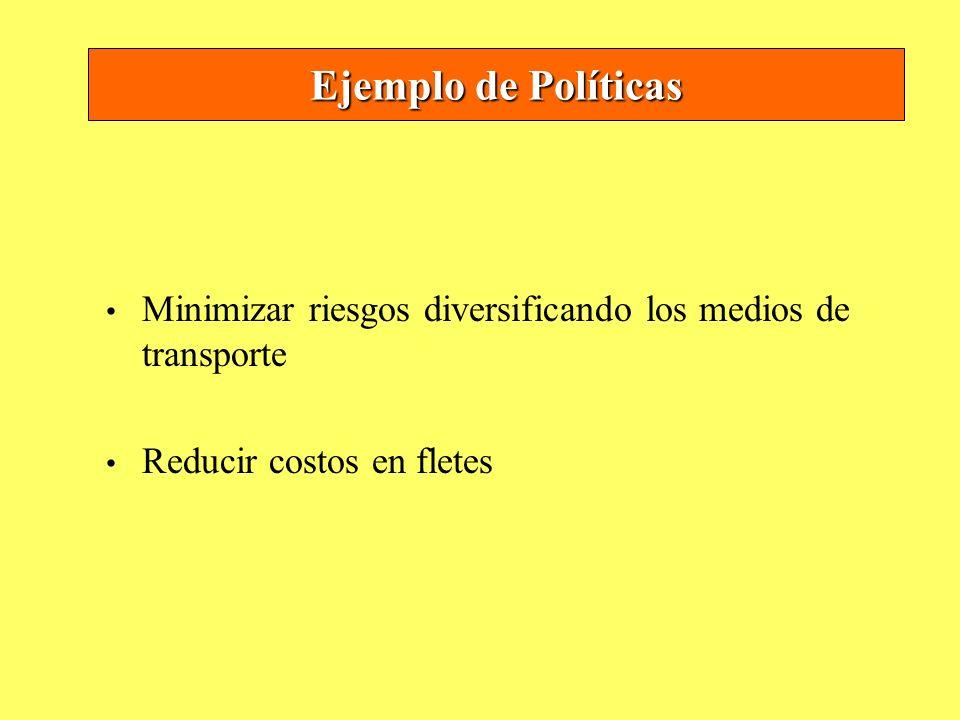 Ejemplo de PolíticasMinimizar riesgos diversificando los medios de transporte.
