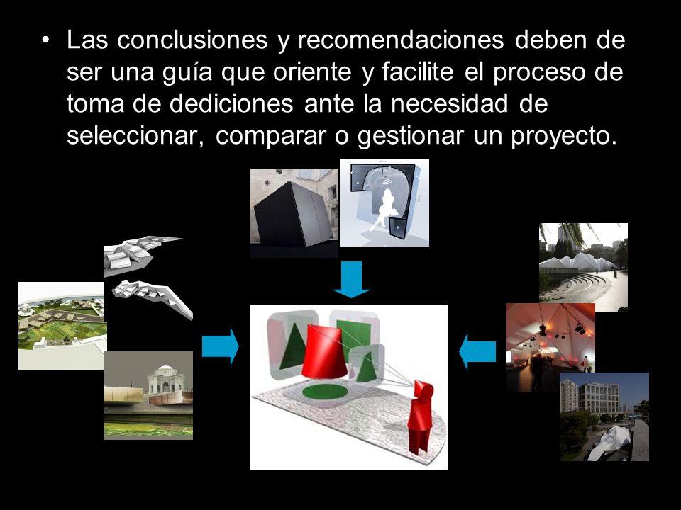 Las conclusiones y recomendaciones deben de ser una guía que oriente y facilite el proceso de toma de dediciones ante la necesidad de seleccionar, comparar o gestionar un proyecto.