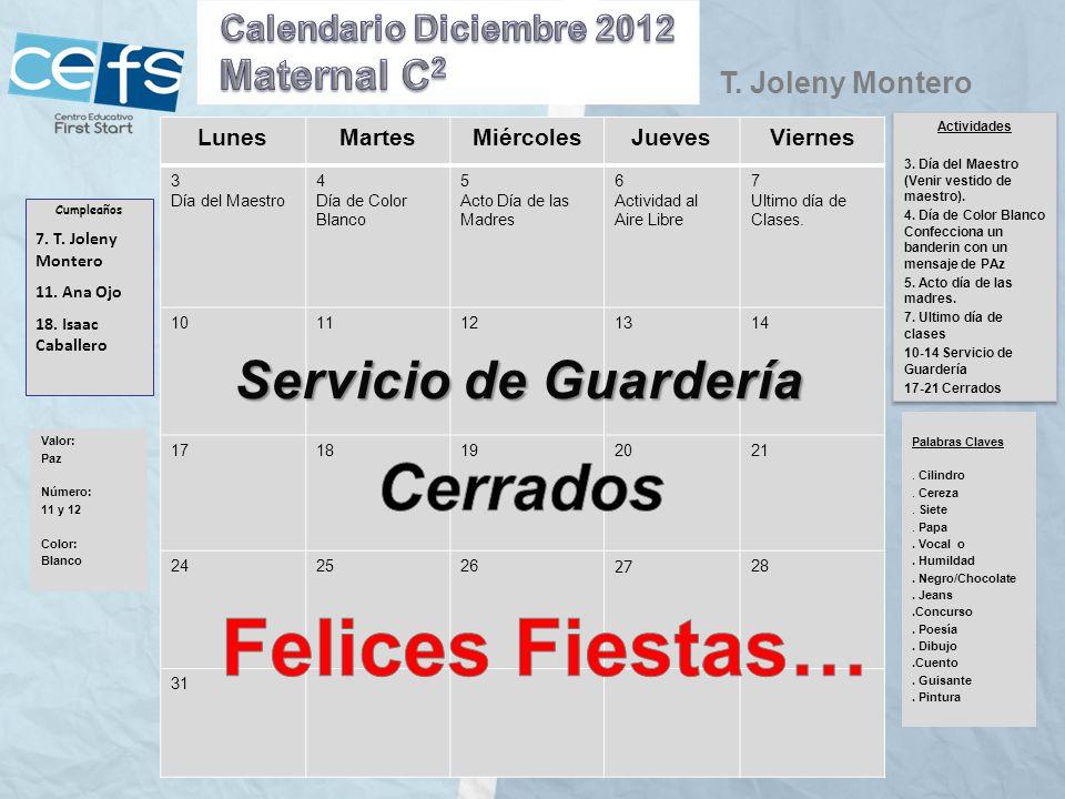 Felices Fiestas… Cerrados Servicio de Guardería Maternal C2