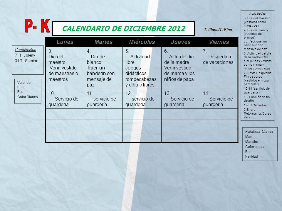 CALENDARIO DE DICIEMBRE 2012