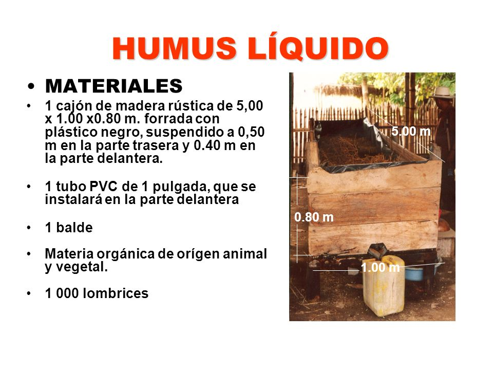 HUMUS LÍQUIDO MATERIALES 5.00 m 0.80 m 1.00 m