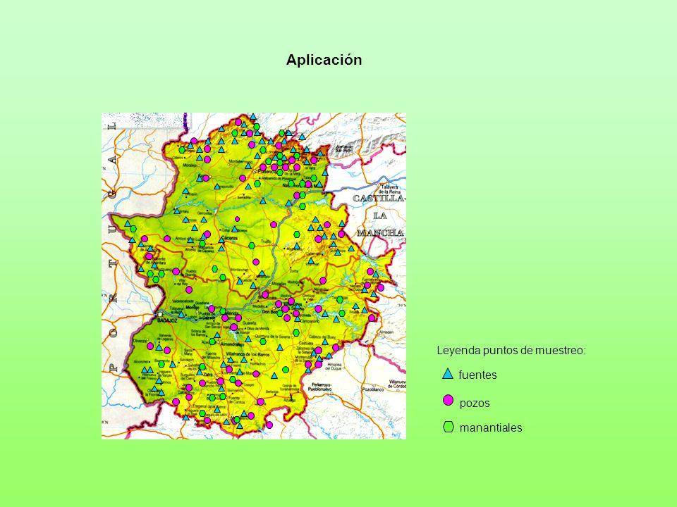 Aplicación Leyenda puntos de muestreo: fuentes pozos manantiales