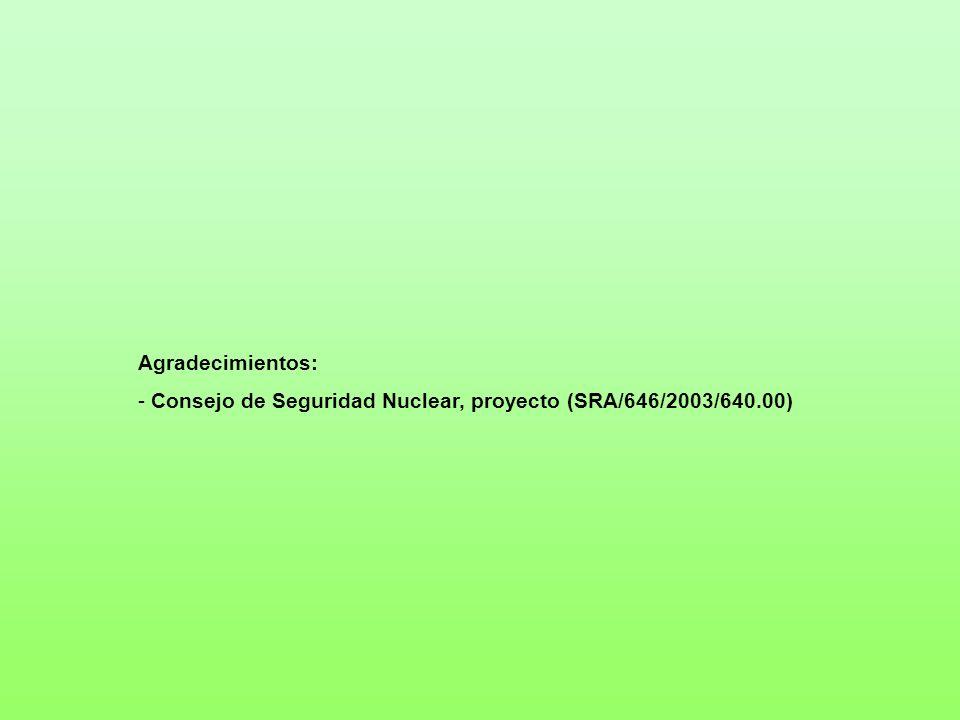 Agradecimientos: Consejo de Seguridad Nuclear, proyecto (SRA/646/2003/640.00)