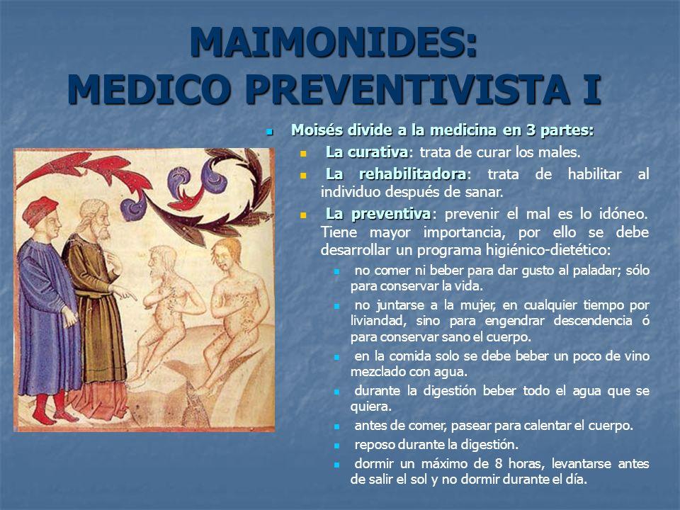 MAIMONIDES: MEDICO PREVENTIVISTA I