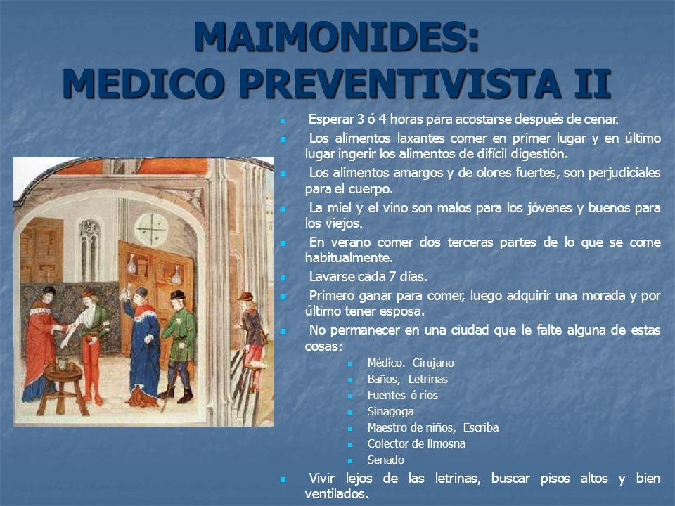 MAIMONIDES: MEDICO PREVENTIVISTA II