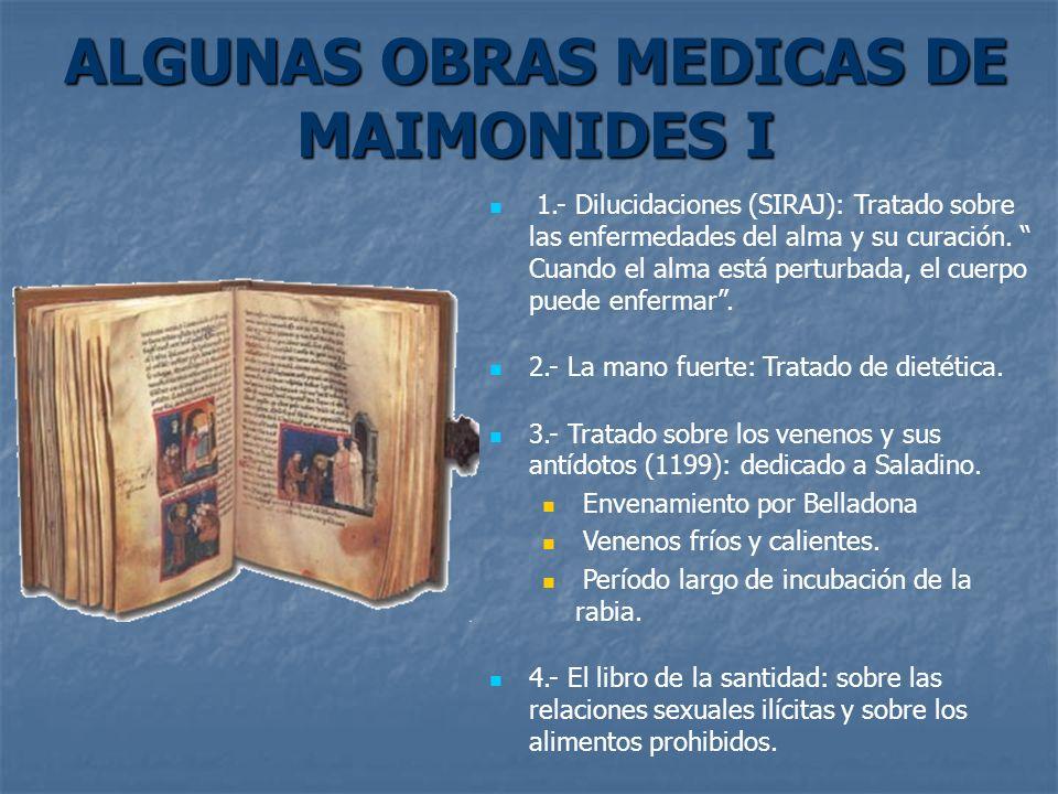 ALGUNAS OBRAS MEDICAS DE MAIMONIDES I
