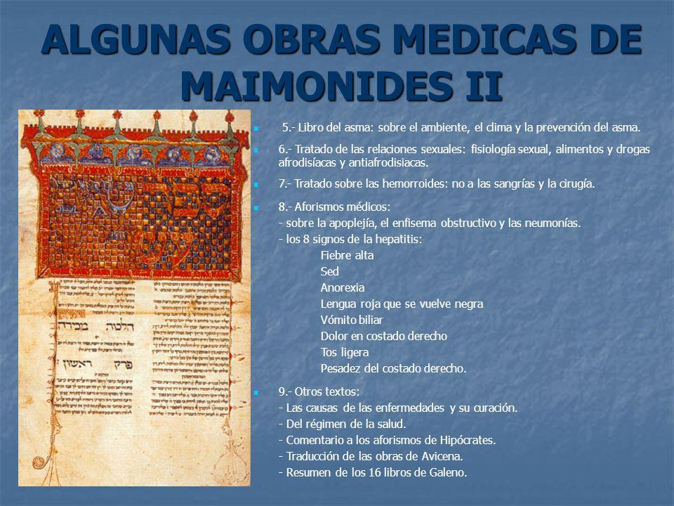 ALGUNAS OBRAS MEDICAS DE MAIMONIDES II