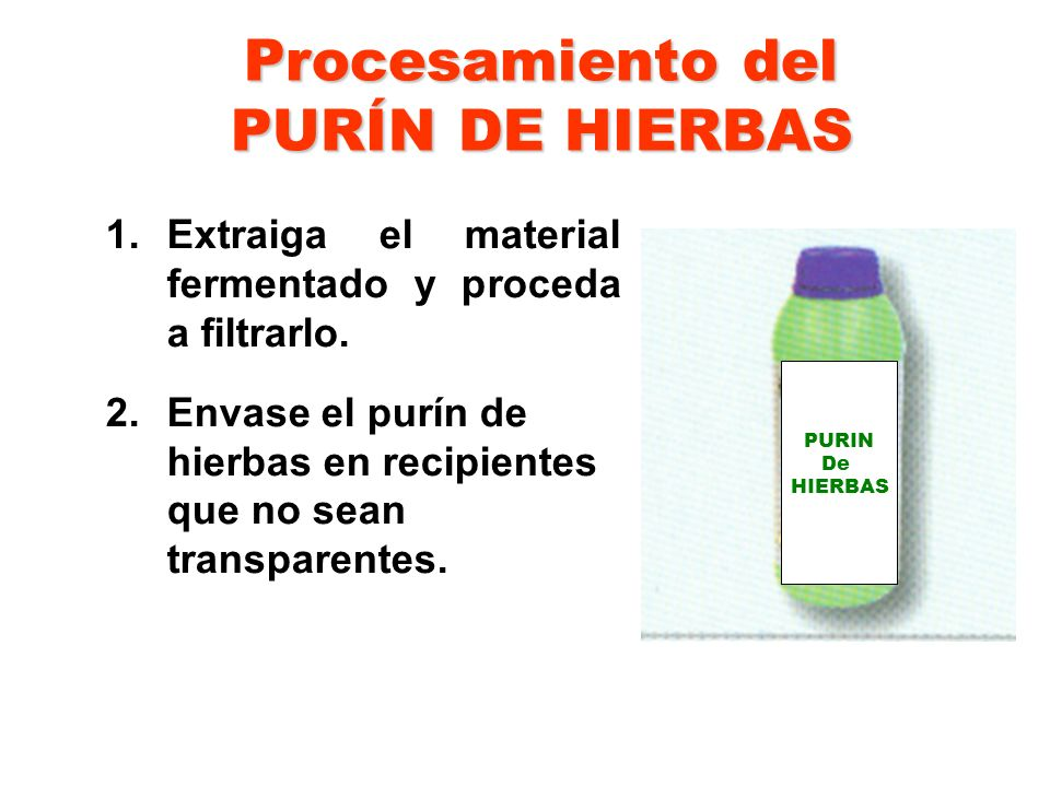 Procesamiento del PURÍN DE HIERBAS
