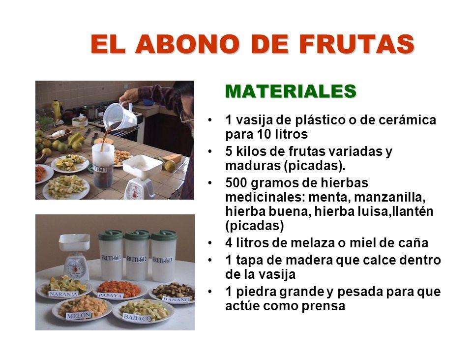 EL ABONO DE FRUTAS MATERIALES
