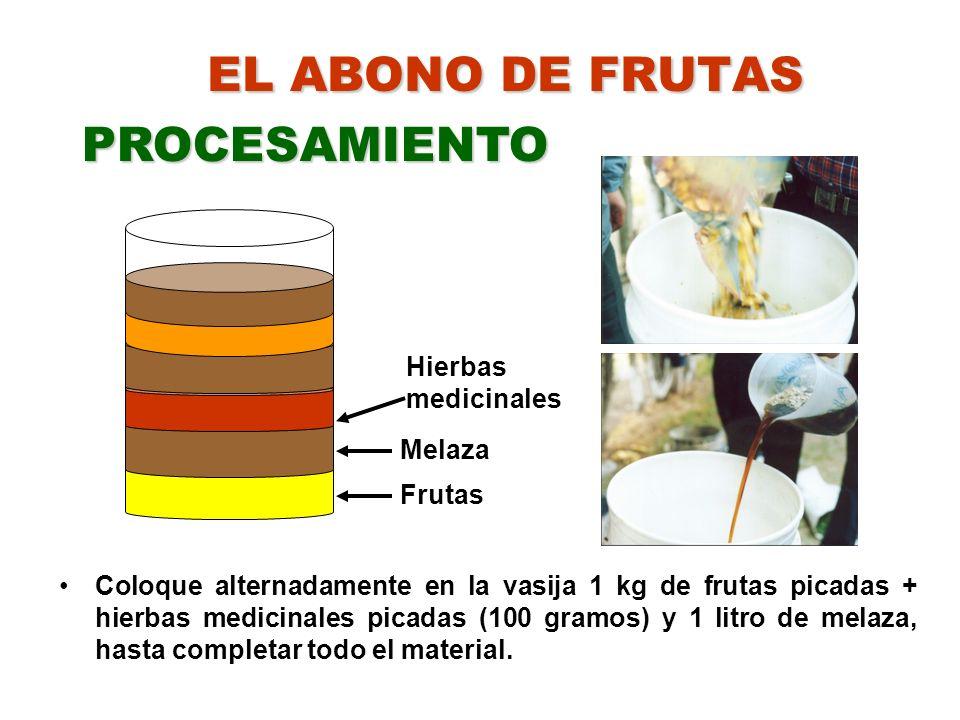 PROCESAMIENTO EL ABONO DE FRUTAS Hierbas medicinales Melaza Frutas