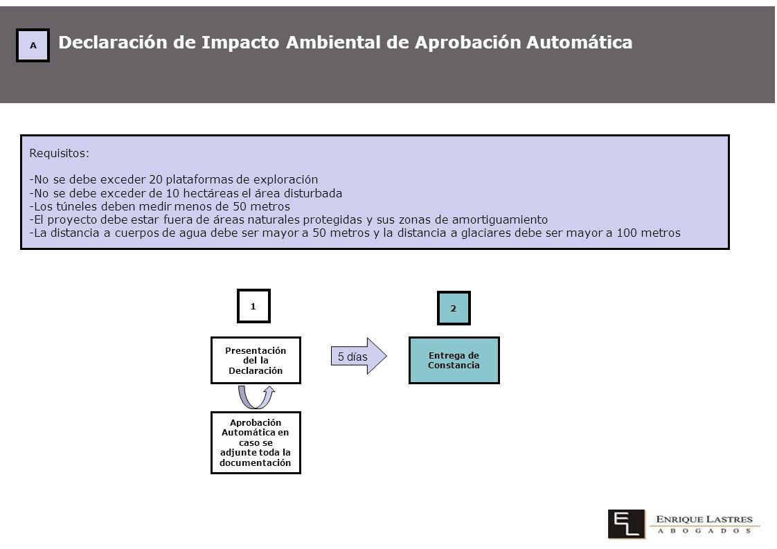 Declaración de Impacto Ambiental de Aprobación Automática