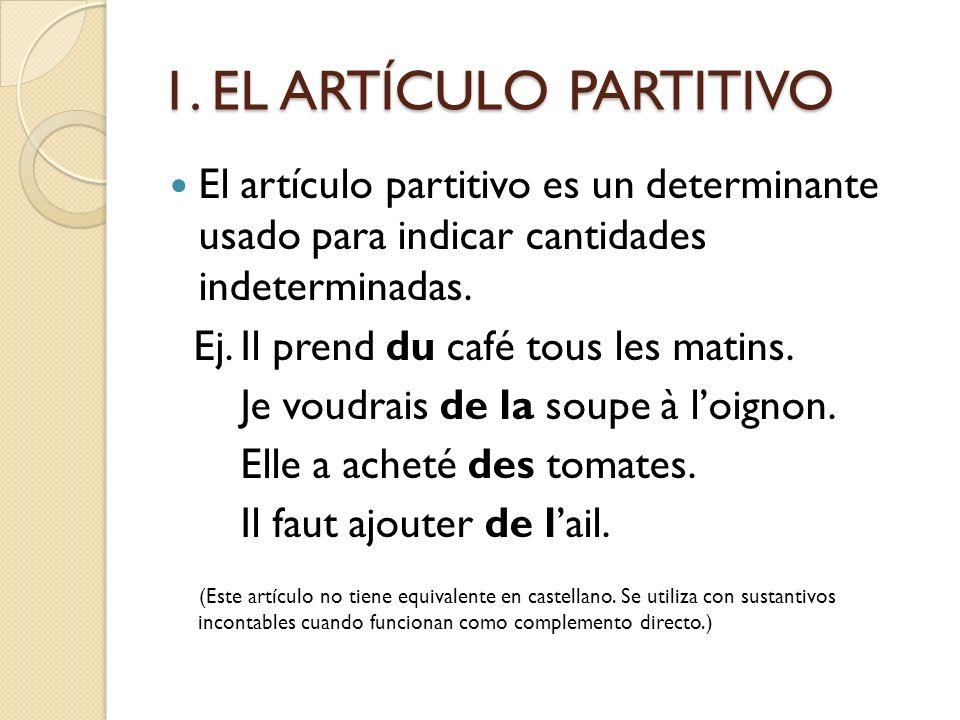 1. EL ARTÍCULO PARTITIVO El artículo partitivo es un determinante usado para indicar cantidades indeterminadas.