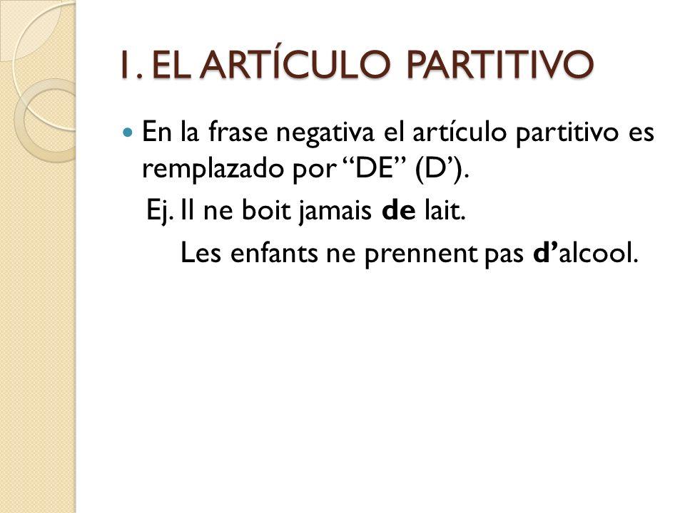 1. EL ARTÍCULO PARTITIVO En la frase negativa el artículo partitivo es remplazado por DE (D'). Ej. Il ne boit jamais de lait.
