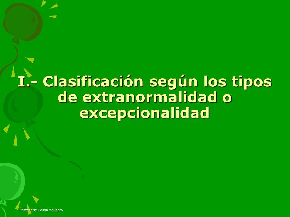 I.- Clasificación según los tipos de extranormalidad o excepcionalidad