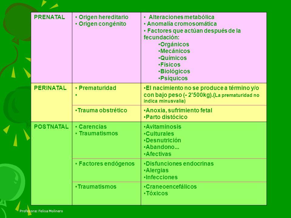 PRENATAL Origen hereditario. Origen congénito. Alteraciones metabólica. Anomalía cromosomática. Factores que actúan después de la fecundación: