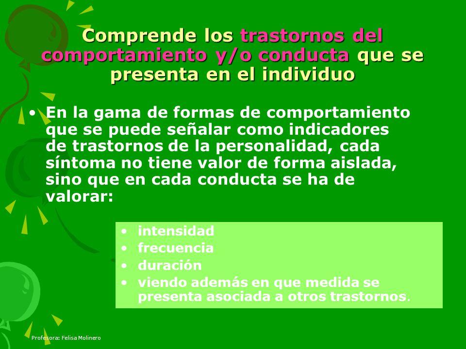 Comprende los trastornos del comportamiento y/o conducta que se presenta en el individuo