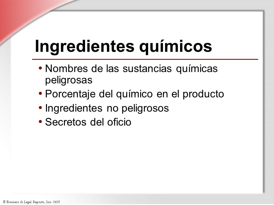 Ingredientes químicos