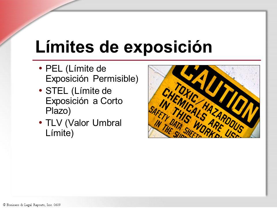 Límites de exposición PEL (Límite de Exposición Permisible)