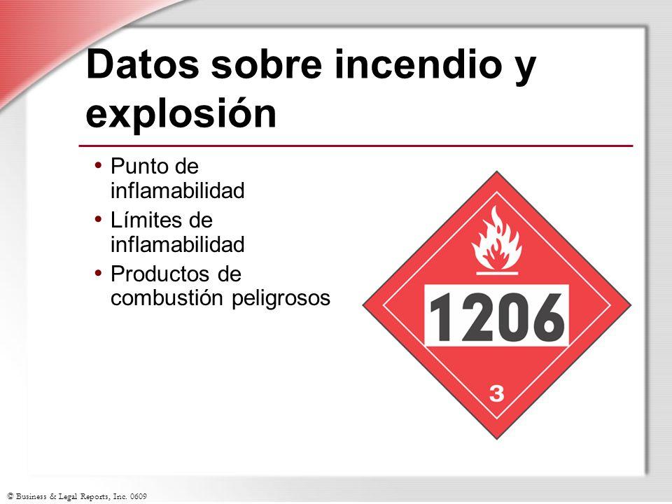 Datos sobre incendio y explosión
