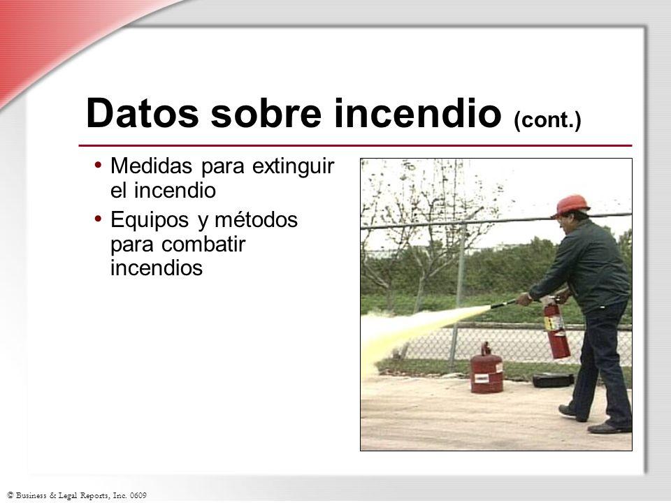 Datos sobre incendio (cont.)