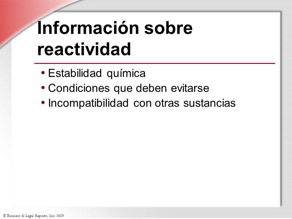 Información sobre reactividad