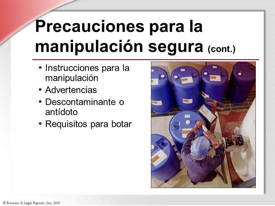 Precauciones para la manipulación segura (cont.)