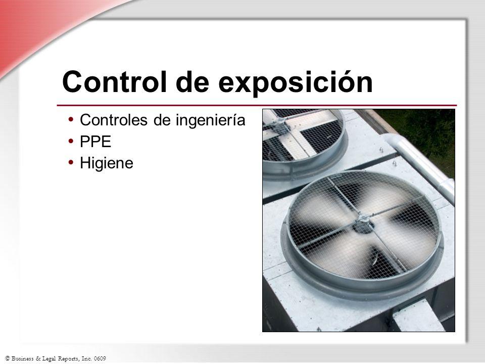 Control de exposición Controles de ingeniería PPE Higiene
