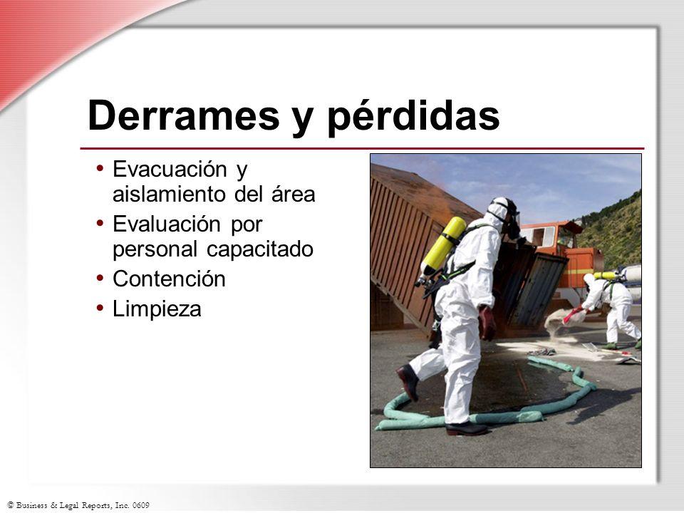 Derrames y pérdidas Evacuación y aislamiento del área