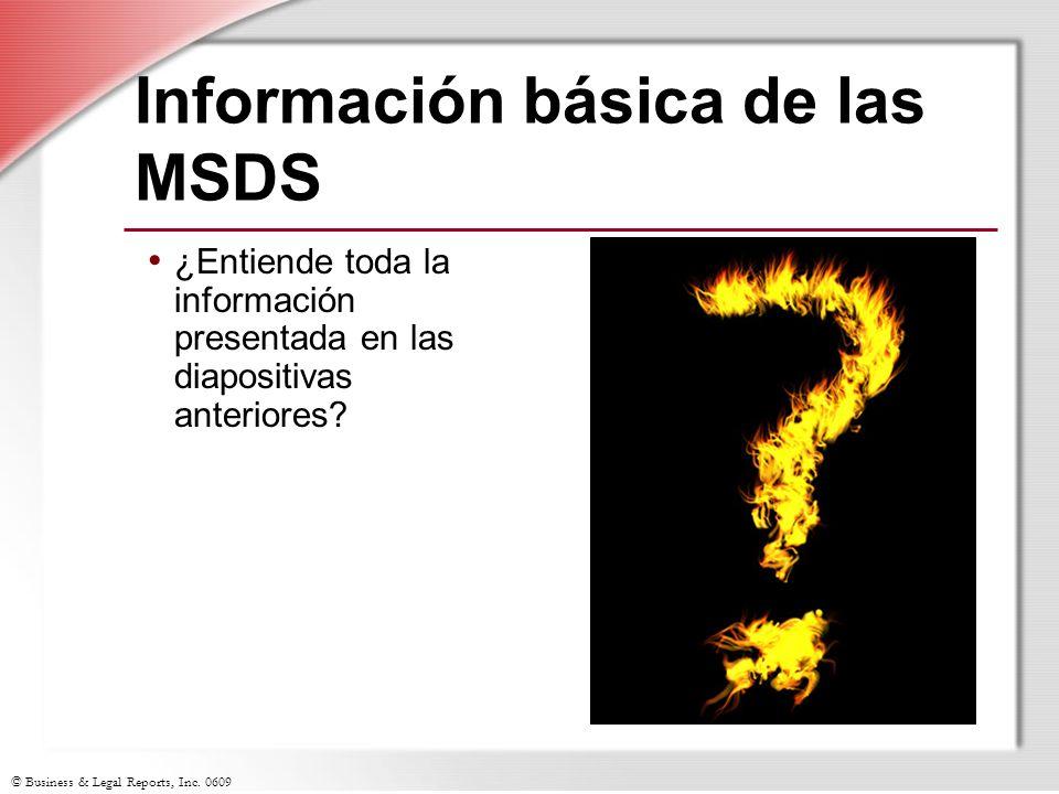 Información básica de las MSDS