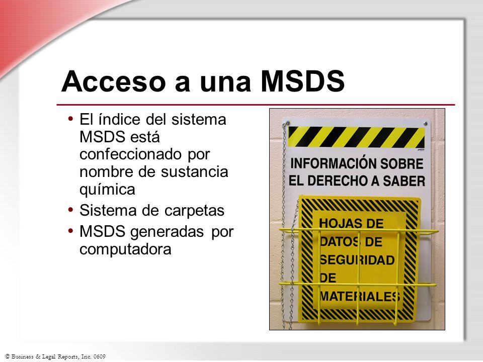 Acceso a una MSDS El índice del sistema MSDS está confeccionado por nombre de sustancia química. Sistema de carpetas.