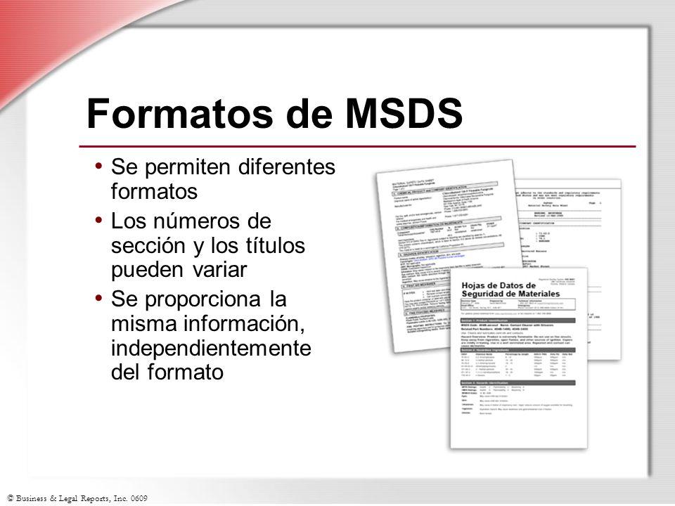 Formatos de MSDS Se permiten diferentes formatos