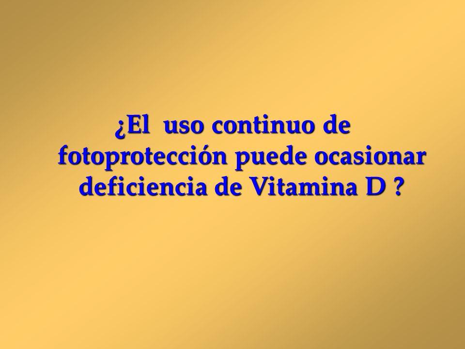 ¿El uso continuo de fotoprotección puede ocasionar deficiencia de Vitamina D