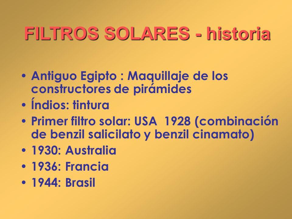 FILTROS SOLARES - historia
