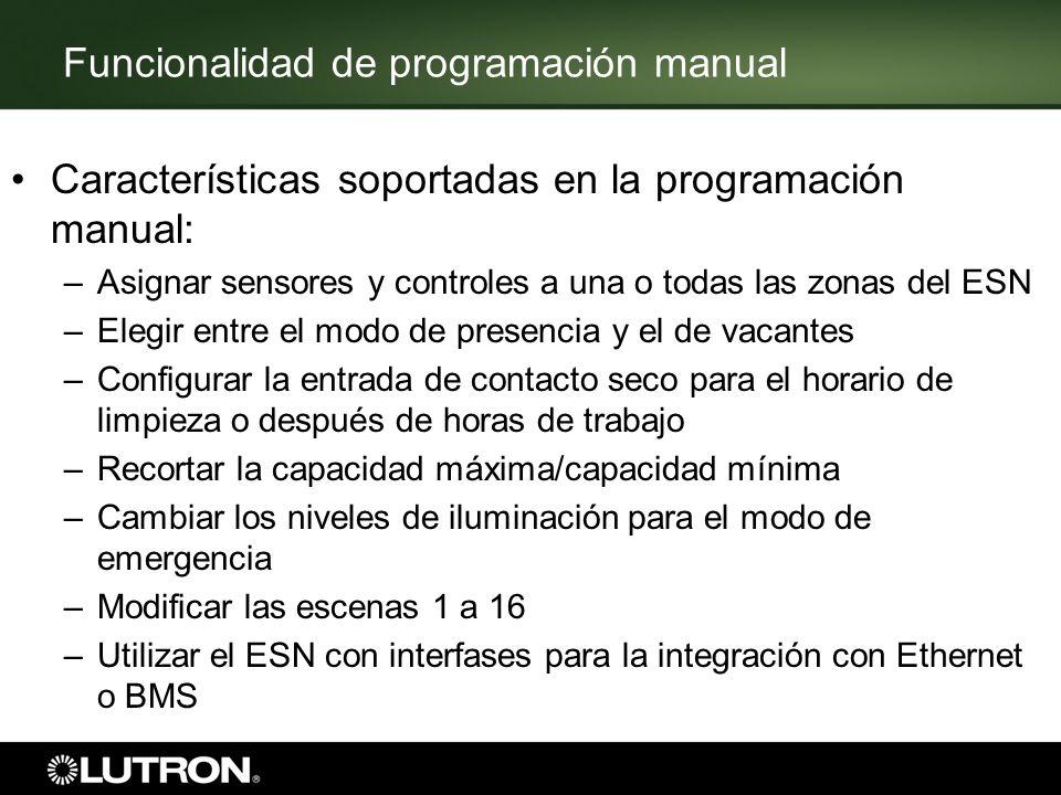 Funcionalidad de programación manual