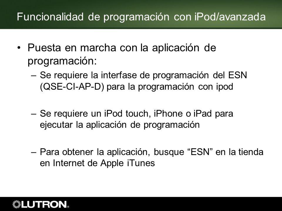 Funcionalidad de programación con iPod/avanzada